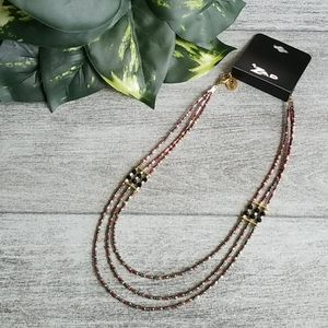 ZAD gold & maroon beaded 3 line necklace